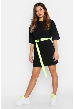 Cotton Pocket Detail Oversized T-Shirt Dress, Black, Femme
