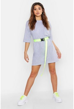 Cotton Pocket Detail Oversized T-Shirt Dress, Grey, Femme