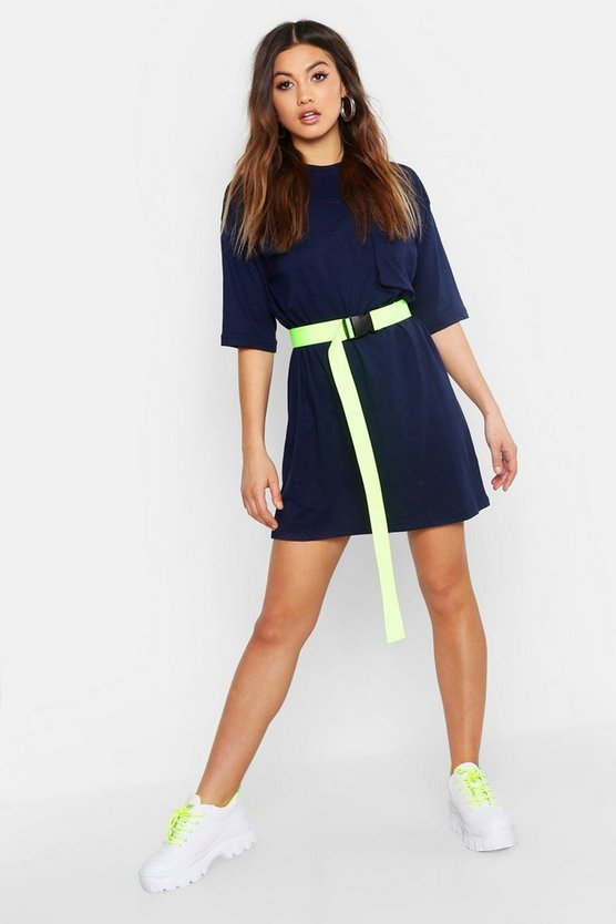 Womens Navy Cotton Pocket Detail Oversized T-Shirt Dress