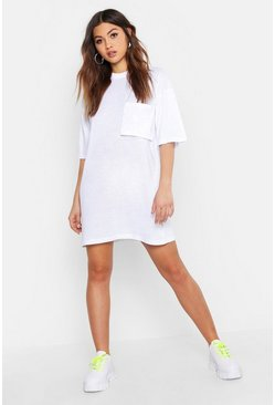 Cotton Pocket Detail Oversized T-Shirt Dress, White, MUJER