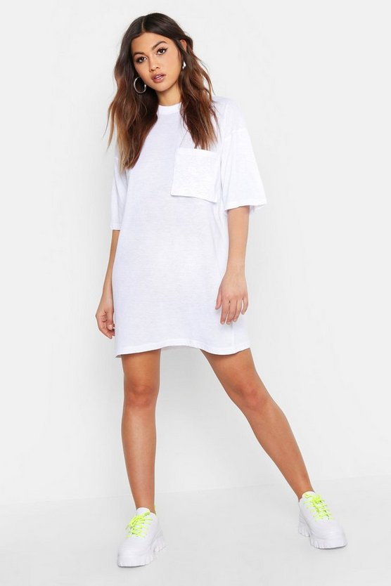 Cotton Pocket Detail Oversized T-Shirt Dress