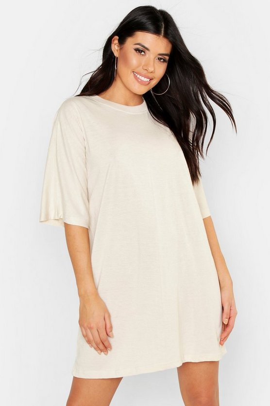 Womens Ecru Cotton Batwing Oversized T-Shirt Dress