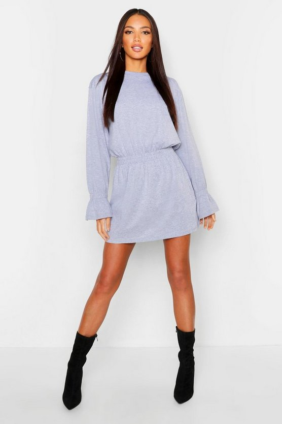 Cotton Shirred Waist T-Shirt Dress, Grey, MUJER