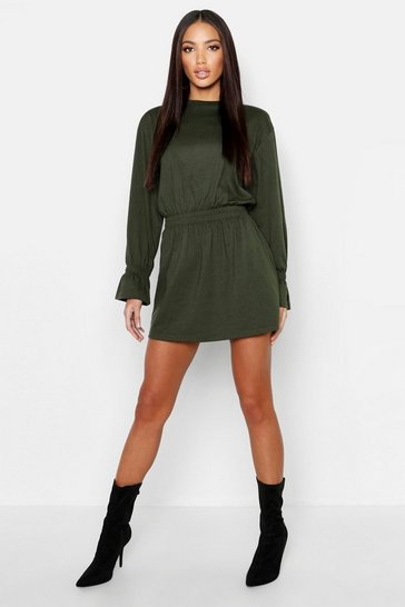 Khaki Shirred Waist T-Shirt Dress