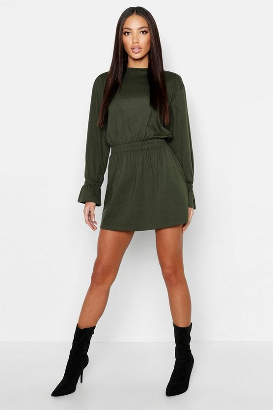 Womens Khaki Cotton Shirred Waist T-Shirt Dress