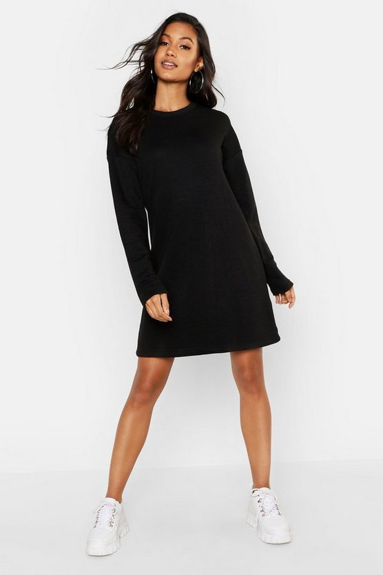 Long Sleeve Oversized Sweatshirt Dress, Black, Donna