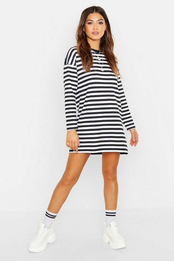 Stripe Long Sleeve Oversized Sweat Dress, Black, FEMMES
