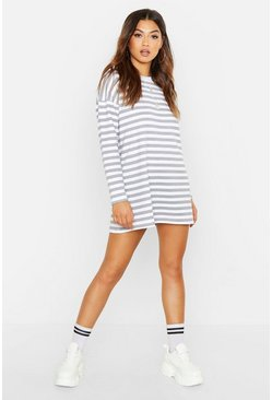 Womens Grey Stripe Long Sleeve Oversized Sweat Dress