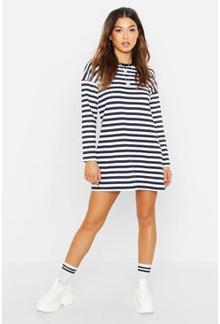 Womens Navy Stripe Long Sleeve Oversized Sweat Dress