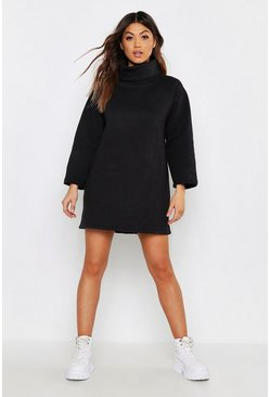 Womens Black High Neck Oversized Sweatshirt Dress