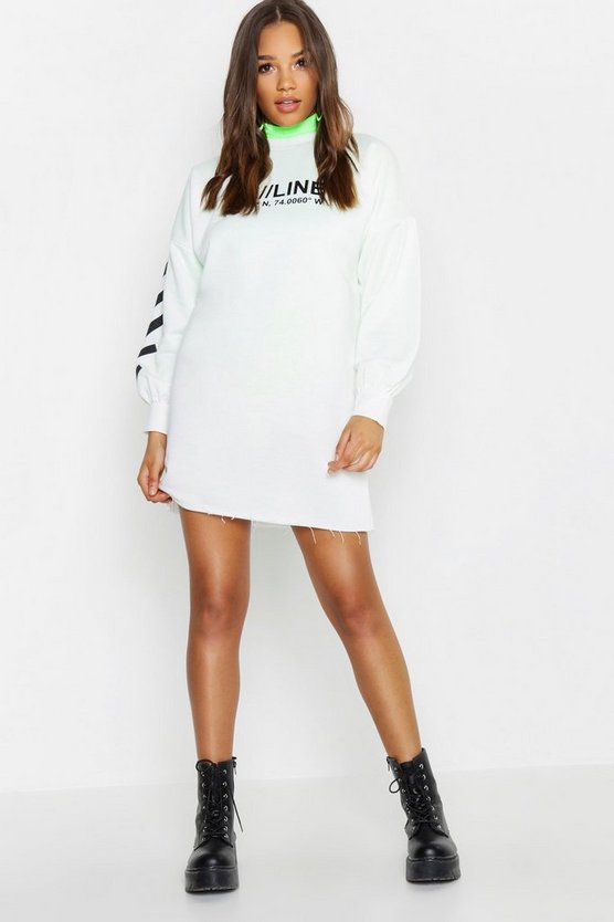 Womens White ONLINE Printed Balloon Sleeve Sweat Dress