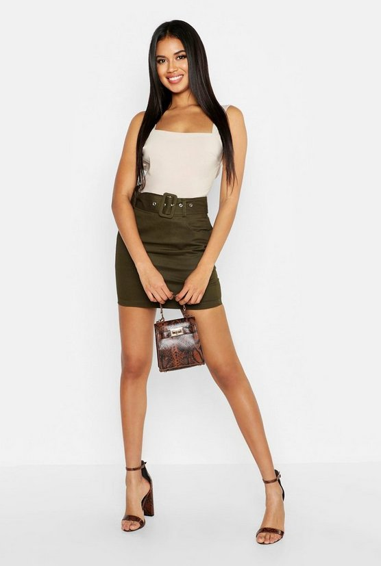 Womens Khaki Belted Cargo Pocket Mini Skirt