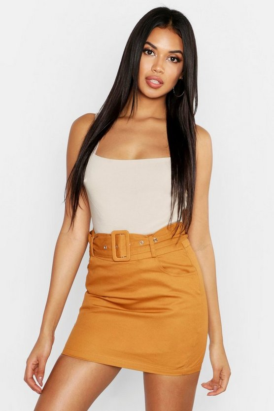 Womens Sand Belted Cargo Pocket Mini Skirt