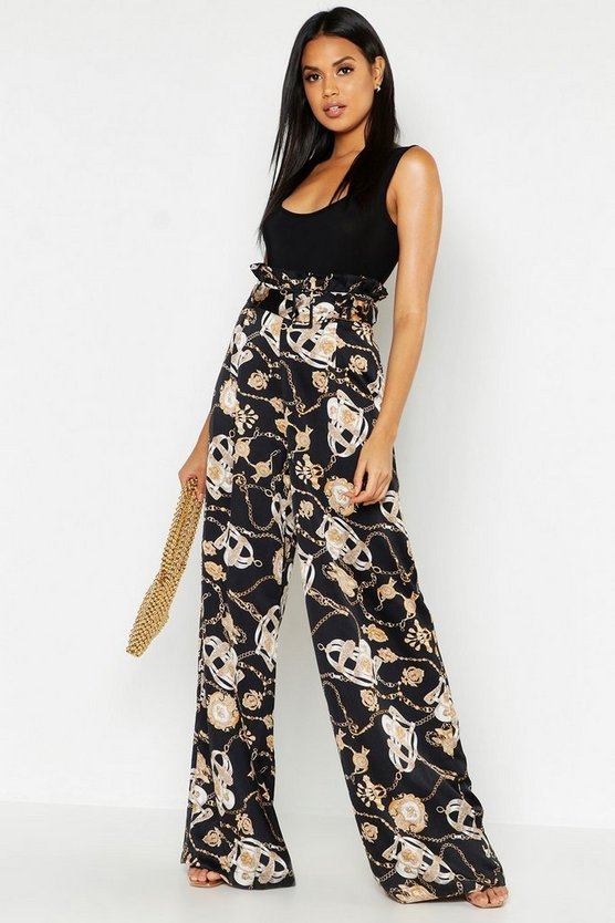 Black Satin Chain Print Belted Paperbag Trousers