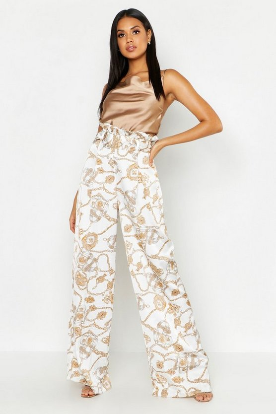 Womens White Satin Chain Print Belted Paperbag Pants