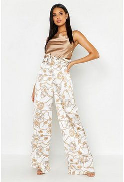 Satin Chain Print Belted Paperbag Trousers, White, FEMMES