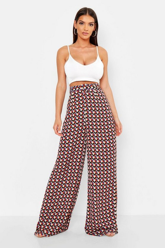 Black Geo Print Belted Wide Leg Pants