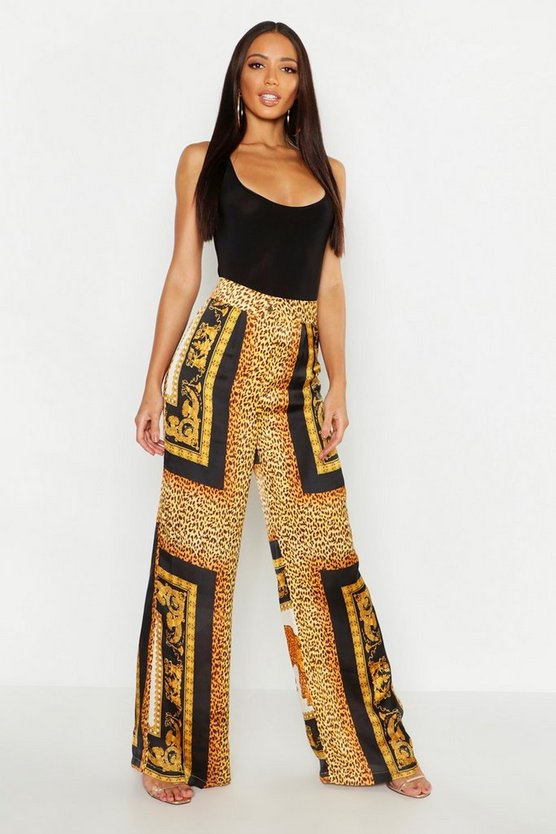 Black Leopard Chain Scarf Satin Wide Leg Trousers