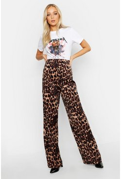 Womens Brown Leopard Cord Wide Leg Pants
