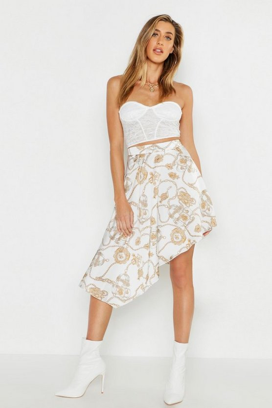 Chain Print Satin Asymetric Midaxi Skirt, White, FEMMES