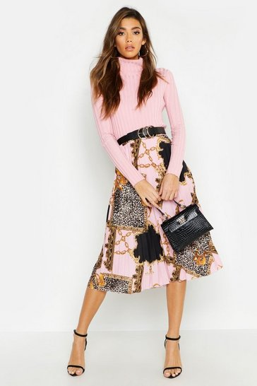 Pink Pleated Chain Print Midi Skirt