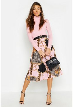 Pleated Chain Print Midi Skirt, Pink, ЖЕНСКОЕ