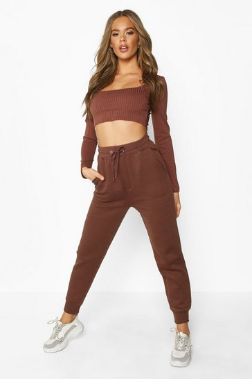 Womens Chocolate Basic Sweat Joggers