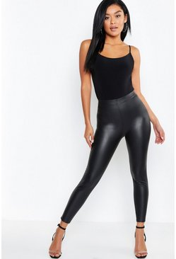 Black Matte Leather Look Leggings