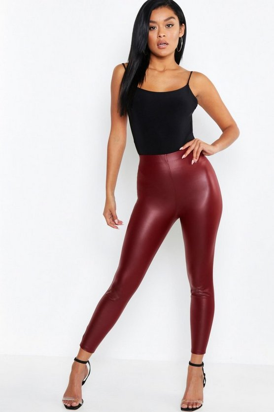 Womens Wine Matte Leather Look Leggings