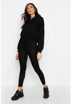 Basic Jersey Legging, Black, FEMMES