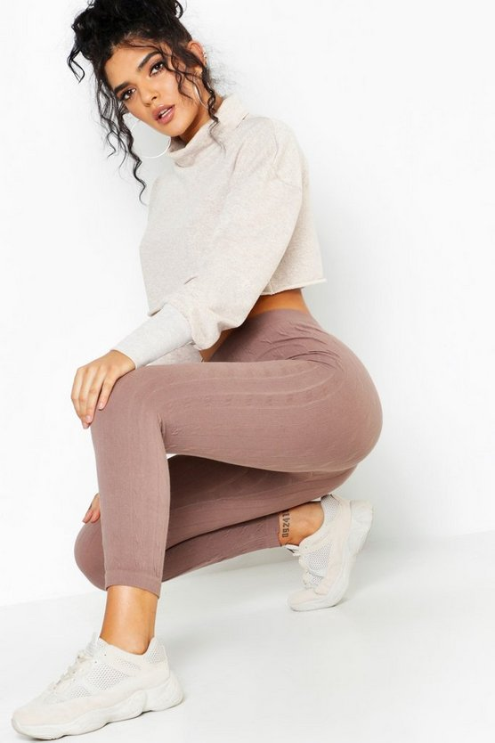 Womens Taupe Cable Knit Leggings