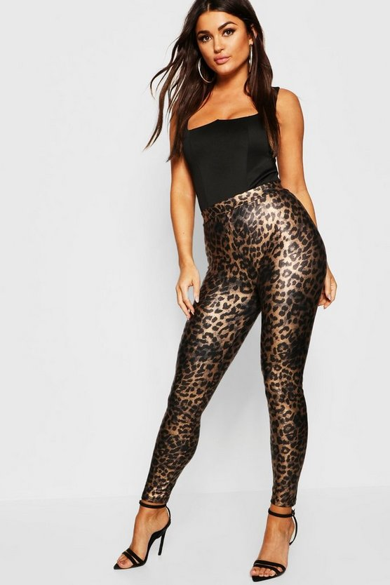 Womens Brown Leopard Print Leather Look Leggings