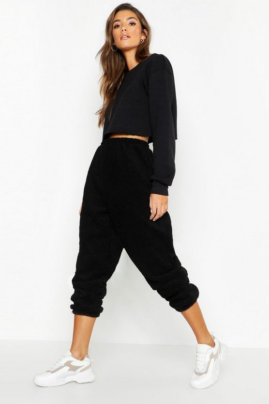 Womens Black Supersoft Teddy Borg Jogger