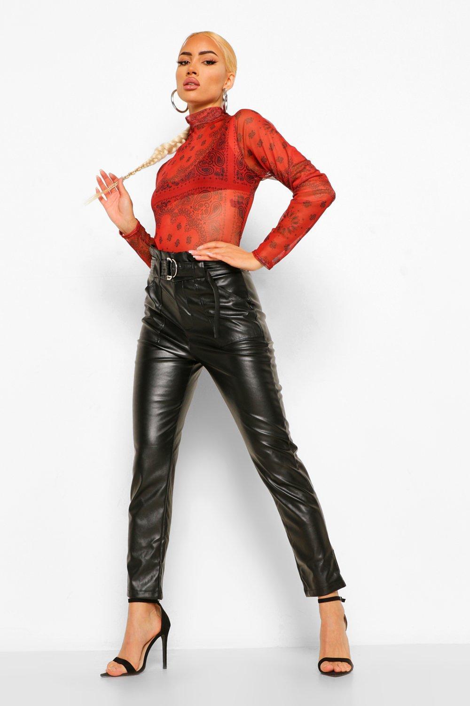 PU D-Ring High Waisted Trouser