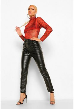 Womens Black Leather Look D-Ring High Waisted Pants