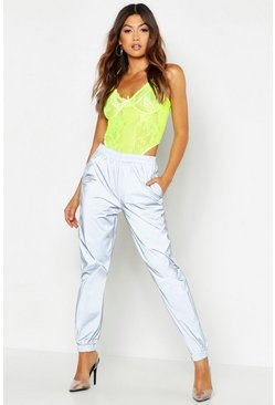 Womens Silver Shell Suit Joggers