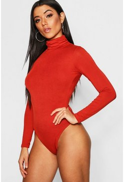 Womens Rust Roll Neck Jersey Bodysuit