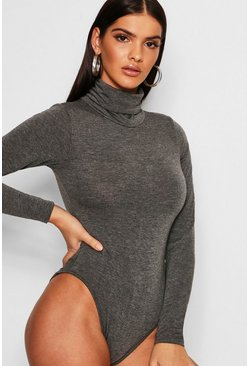 Womens Charcoal Roll Neck Jersey Bodysuit