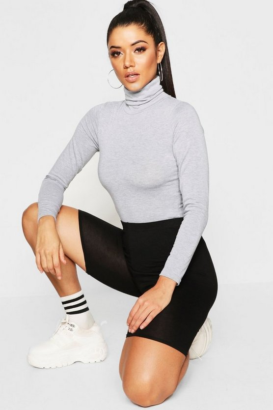 Womens Grey marl Roll Neck Jersey Bodysuit