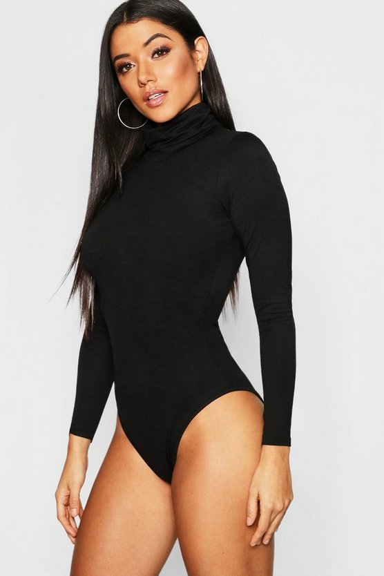 Black Roll Neck Jersey Bodysuit
