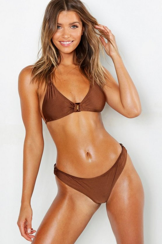 Womens Chocolate Buckle Detail Triangle Bikini