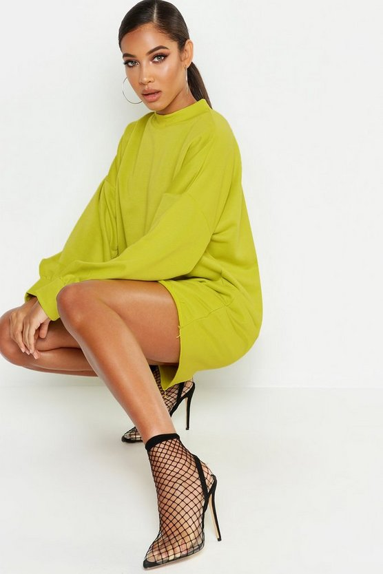 Womens Neon Funnel Neck Oversized Sweat Dress