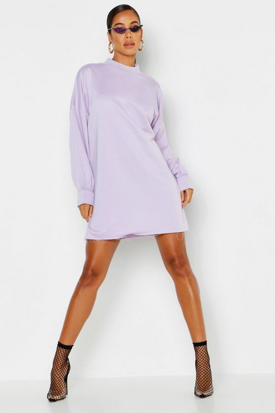 Lilac Funnel Neck Oversized Sweat Dress
