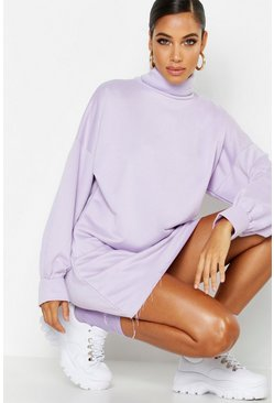 Womens Lilac Roll Neck Oversized Sweat Dress