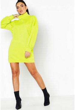 Womens Neon-green Roll Neck Oversized Sweat Dress