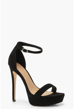 Womens Black High Platform 2 Part Heels