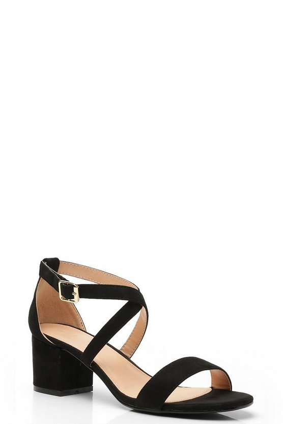 Cross Strap Low Block Heels, Black, DAMEN