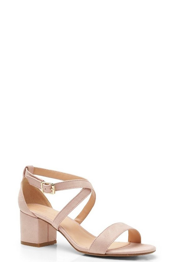 Cross Strap Low Block Heels, Nude, ЖЕНСКОЕ