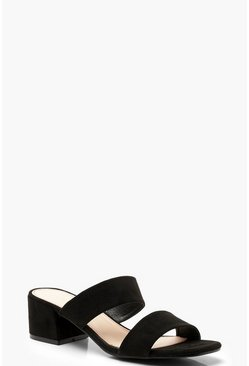 Womens Black Square Toe Double Strap Mules