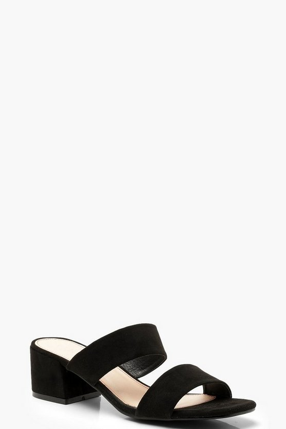 Square Toe Double Strap Mules